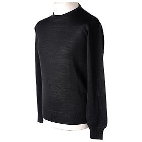 Crew neck black plain knitted jumper for clergymen 50% acrylic 50% merino wool In Primis s4