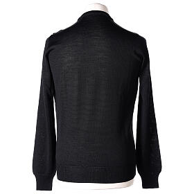 Crew neck black plain knitted jumper for clergymen 50% acrylic 50% merino wool In Primis s5