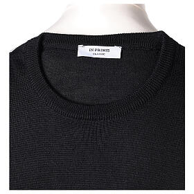 Crew neck black plain knitted jumper for clergymen 50% acrylic 50% merino wool In Primis s6