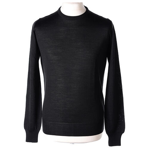 Crew neck black plain knitted jumper for clergymen 50% acrylic 50% merino wool In Primis 1