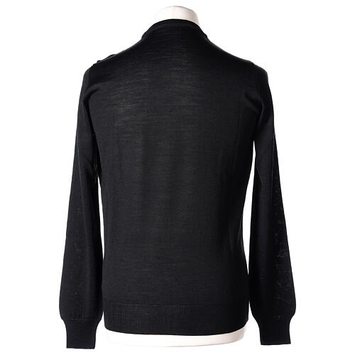 Crew neck black plain knitted jumper for clergymen 50% acrylic 50% merino wool In Primis 5