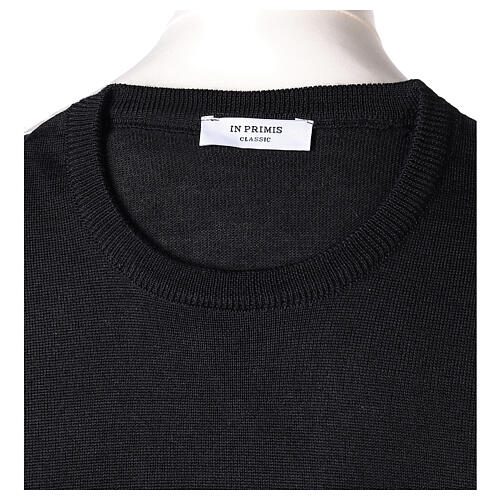 Crew neck black plain knitted jumper for clergymen 50% acrylic 50% merino wool In Primis 6