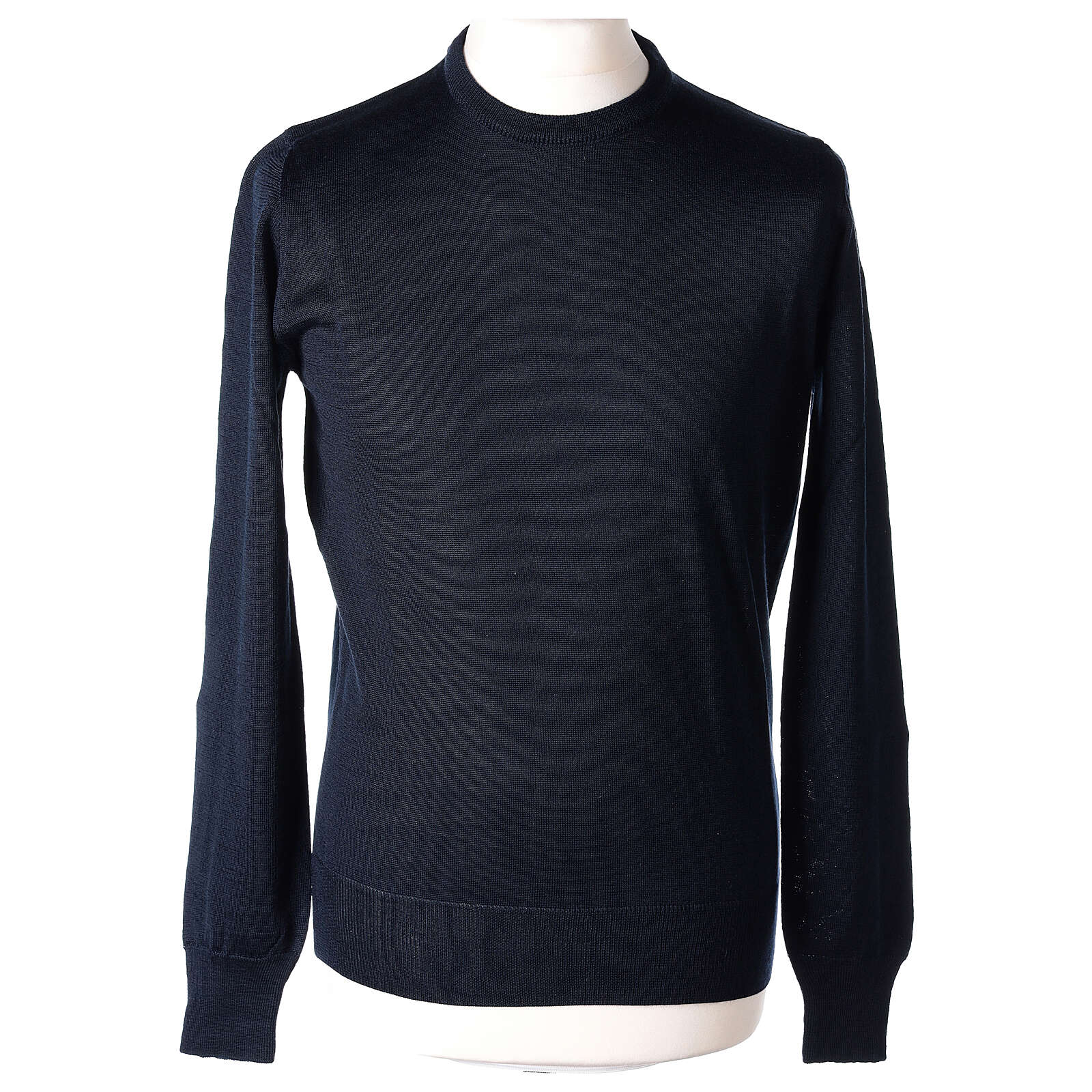 Jersey sacerdote azul cuello redondo punto al derecho 50% lana merina 50% acrílico In Primis 4