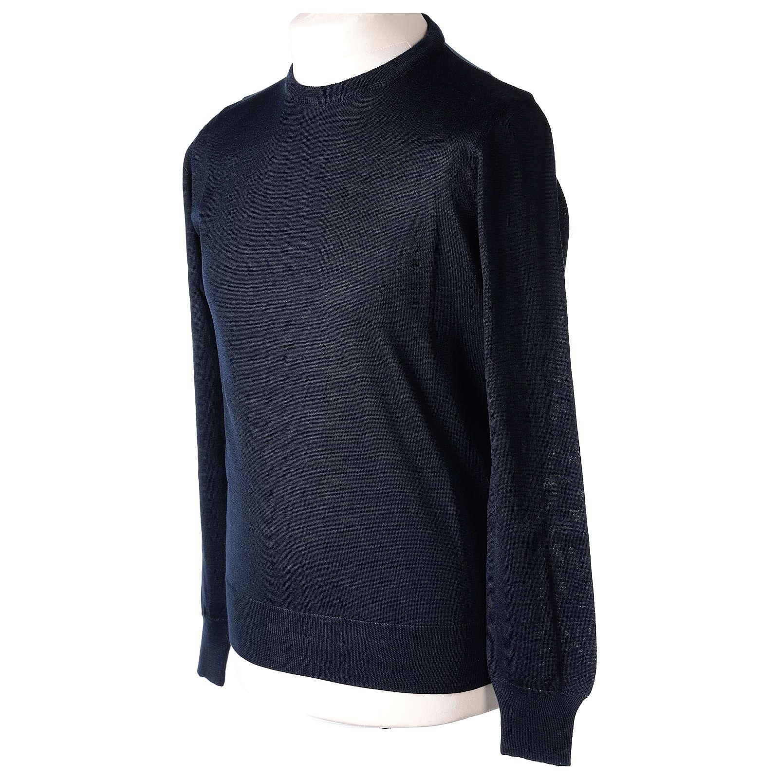 Pull prêtre bleu ras-de-cou jersey simple 50% acrylique 50% laine mérinos In Primis 4