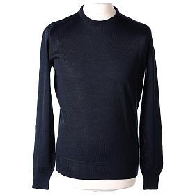 Pullover sacerdote blu girocollo a maglia rasata 50% lana merino 50% acrilico In Primis s1