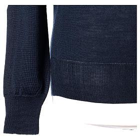Pullover sacerdote blu girocollo a maglia rasata 50% lana merino 50% acrilico In Primis s4