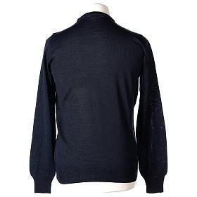 Pullover sacerdote blu girocollo a maglia rasata 50% lana merino 50% acrilico In Primis s5