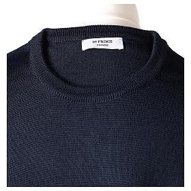 Pullover sacerdote blu girocollo a maglia rasata 50% lana merino 50% acrilico In Primis s6