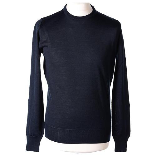 Pullover sacerdote blu girocollo a maglia rasata 50% lana merino 50% acrilico In Primis 1