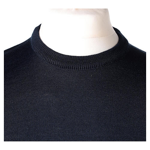 Pullover sacerdote blu girocollo a maglia rasata 50% lana merino 50% acrilico In Primis 2
