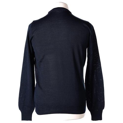 Pullover sacerdote blu girocollo a maglia rasata 50% lana merino 50% acrilico In Primis 5