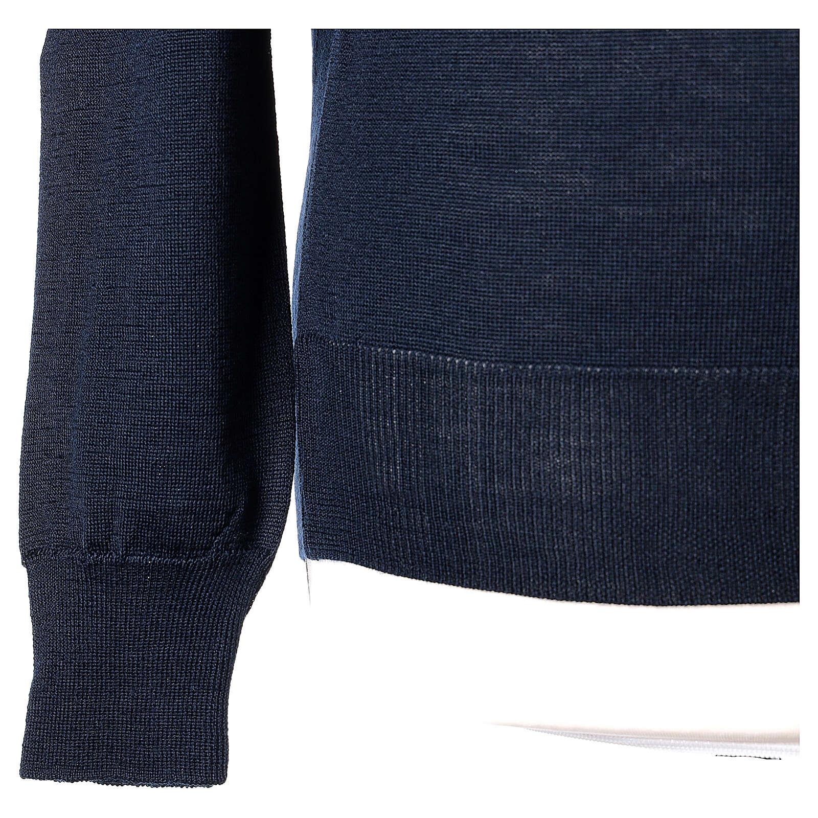 Pulôver sacerdote azul escuro gola redonda tricô plano 50% lã de merino 50% acrílico In Primis 4