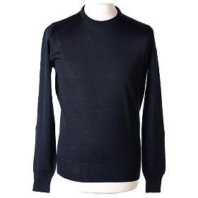 Pulôver sacerdote azul escuro gola redonda tricô plano 50% lã de merino 50% acrílico In Primis s1