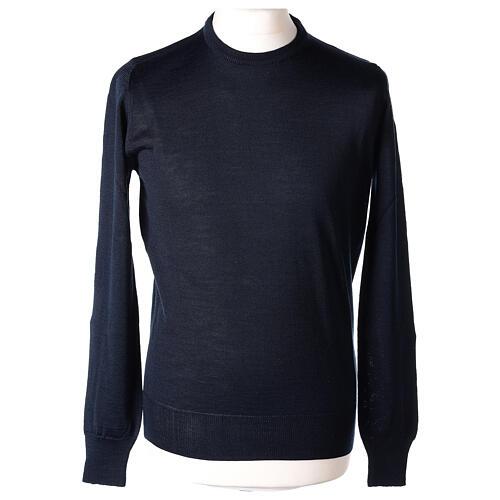 Pulôver sacerdote azul escuro gola redonda tricô plano 50% lã de merino 50% acrílico In Primis 1