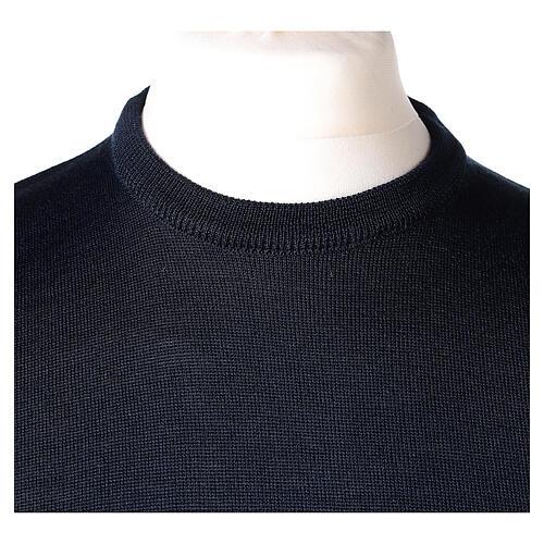 Pulôver sacerdote azul escuro gola redonda tricô plano 50% lã de merino 50% acrílico In Primis 2