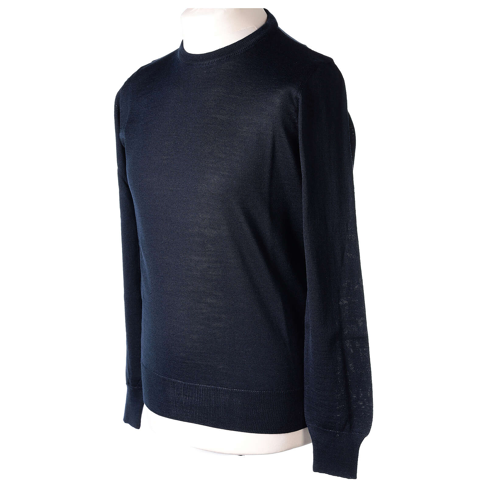 Crew neck blue plain knitted jumper for clergymen 50% acrylic 50% merino wool In Primis 4