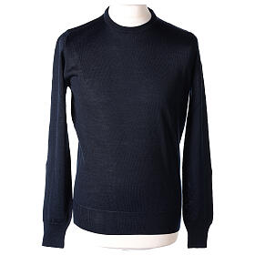 Crew neck blue plain knitted jumper for clergymen 50% acrylic 50% merino wool In Primis s1