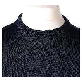 Crew neck blue plain knitted jumper for clergymen 50% acrylic 50% merino wool In Primis s2
