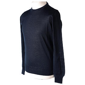Crew neck blue plain knitted jumper for clergymen 50% acrylic 50% merino wool In Primis s3