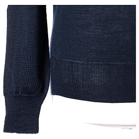 Crew neck blue plain knitted jumper for clergymen 50% acrylic 50% merino wool In Primis s4