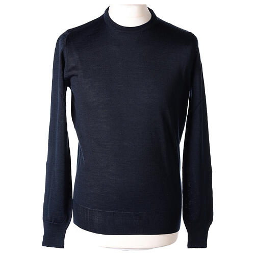 Crew neck blue plain knitted jumper for clergymen 50% acrylic 50% merino wool In Primis 1
