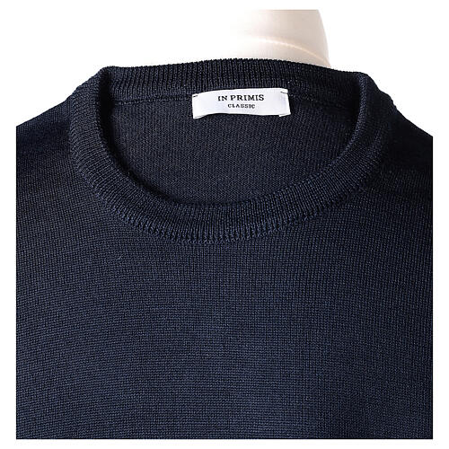 Crew neck blue plain knitted jumper for clergymen 50% acrylic 50% merino wool In Primis 6