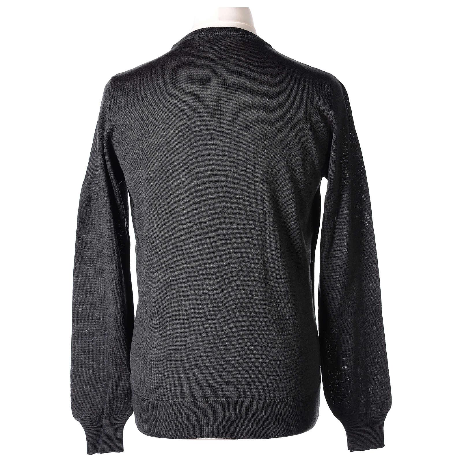 Jersey sacerdote antracita cuello redondo punto al derecho 50% lana merina 50% acrílico In Primis 4