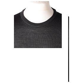 Jersey sacerdote antracita cuello redondo punto al derecho 50% lana merina 50% acrílico In Primis s2