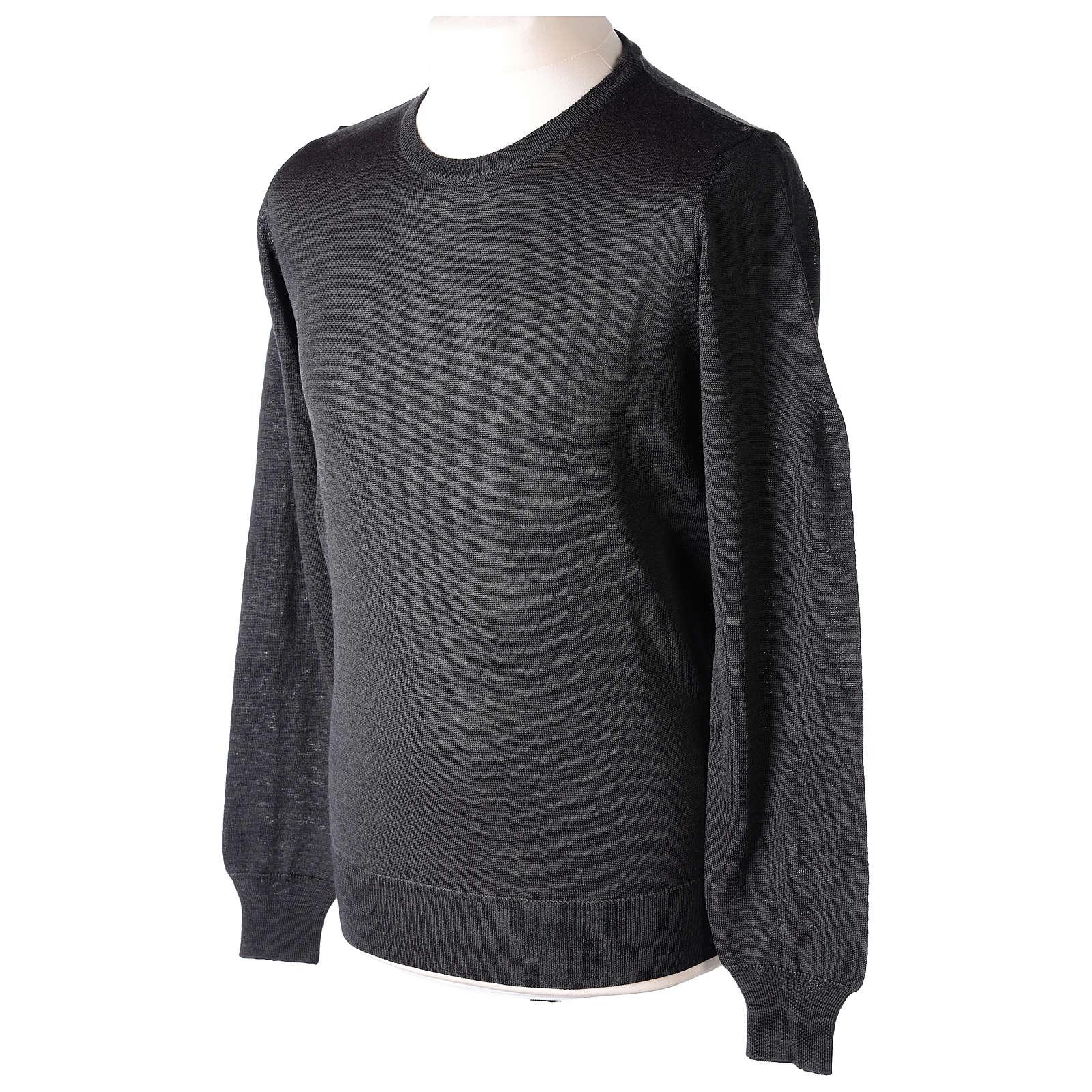 Pull prêtre gris anthracite ras-de-cou jersey simple 50% acrylique 50% laine mérinos 4