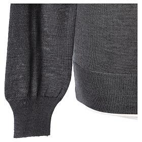 Pull prêtre gris anthracite ras-de-cou jersey simple 50% acrylique 50% laine mérinos s4