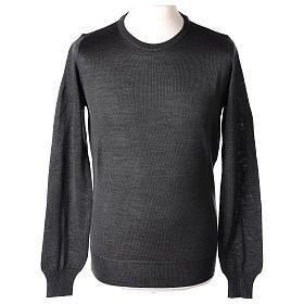 Pullover sacerdote antracite girocollo maglia rasata 50% lana merino 50% acrilico In Primis s1
