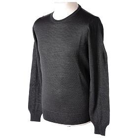 Pullover sacerdote antracite girocollo maglia rasata 50% lana merino 50% acrilico In Primis s3
