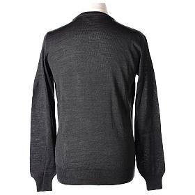 Pullover sacerdote antracite girocollo maglia rasata 50% lana merino 50% acrilico In Primis s5
