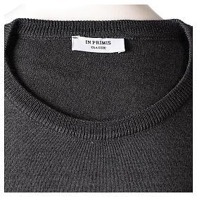 Pullover sacerdote antracite girocollo maglia rasata 50% lana merino 50% acrilico In Primis s6