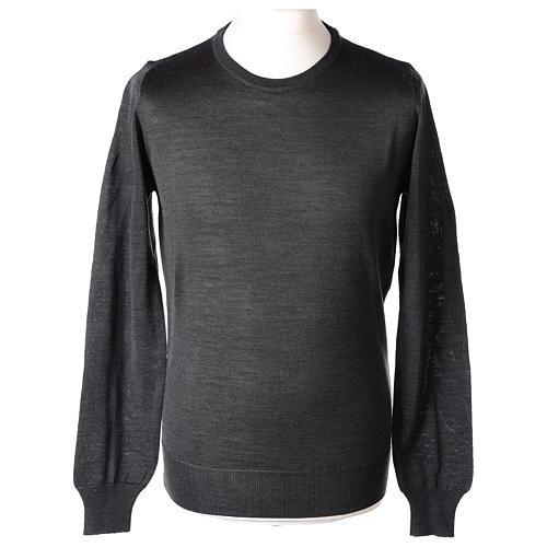Pullover sacerdote antracite girocollo maglia rasata 50% lana merino 50% acrilico In Primis 1
