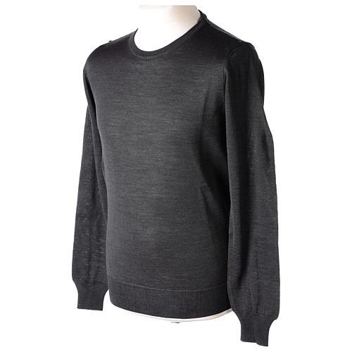 Pullover sacerdote antracite girocollo maglia rasata 50% lana merino 50% acrilico In Primis 3