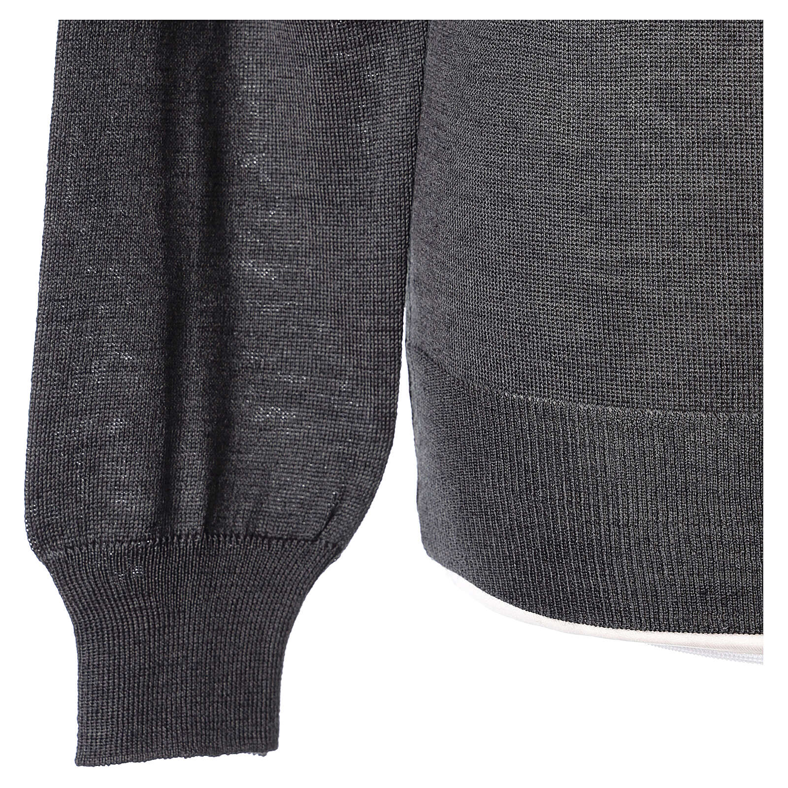 Pulôver sacerdote antracite gola redonda tricô plano 50% lã de merino 50% acrílico In Primis 4