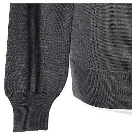 Pulôver sacerdote antracite gola redonda tricô plano 50% lã de merino 50% acrílico In Primis s4