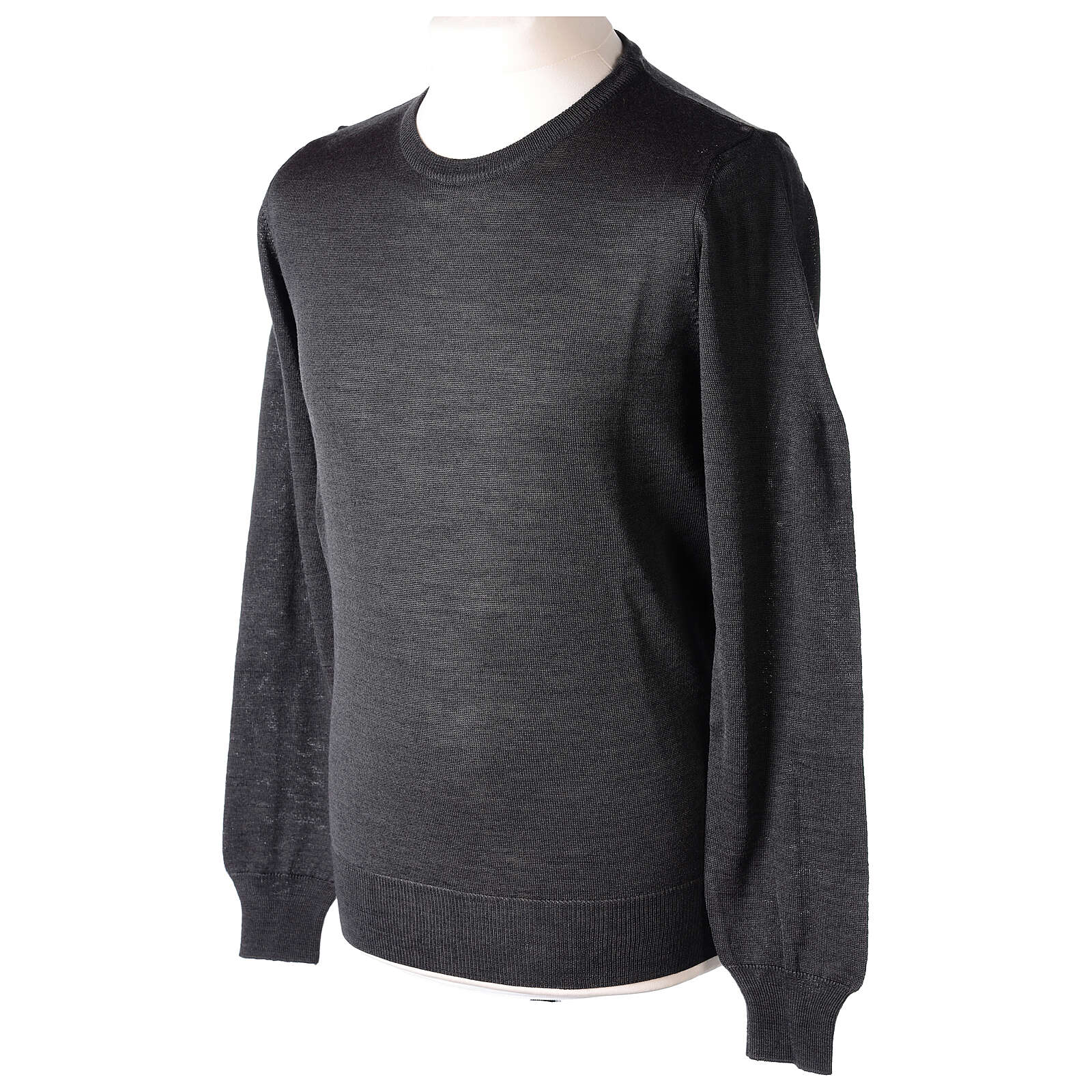 Crew neck grey plain knitted jumper for clergymen 50% acrylic 50% merino wool In Primis 4