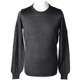 Crew neck grey plain knitted jumper for clergymen 50% acrylic 50% merino wool In Primis s1