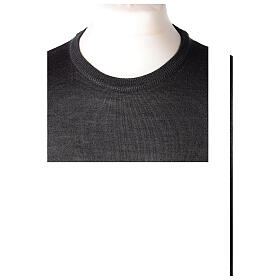 Crew neck grey plain knitted jumper for clergymen 50% acrylic 50% merino wool In Primis s2