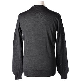 Crew neck grey plain knitted jumper for clergymen 50% acrylic 50% merino wool In Primis s5