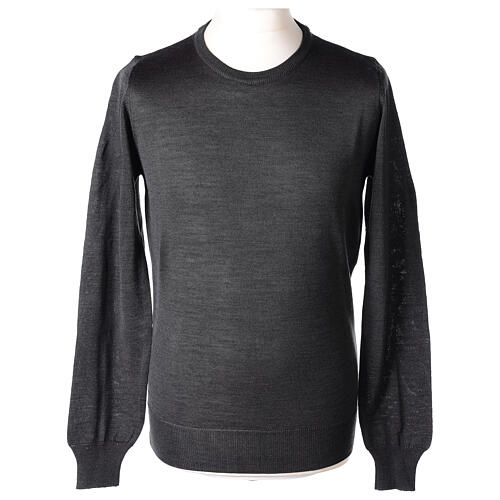 Crew neck grey plain knitted jumper for clergymen 50% acrylic 50% merino wool In Primis 1