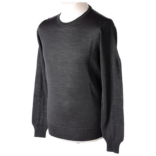 Crew neck grey plain knitted jumper for clergymen 50% acrylic 50% merino wool In Primis 3