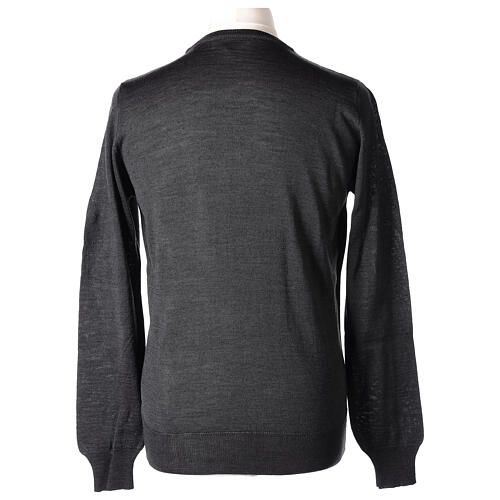 Crew neck grey plain knitted jumper for clergymen 50% acrylic 50% merino wool In Primis 5
