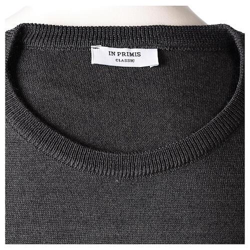 Crew neck grey plain knitted jumper for clergymen 50% acrylic 50% merino wool In Primis 6