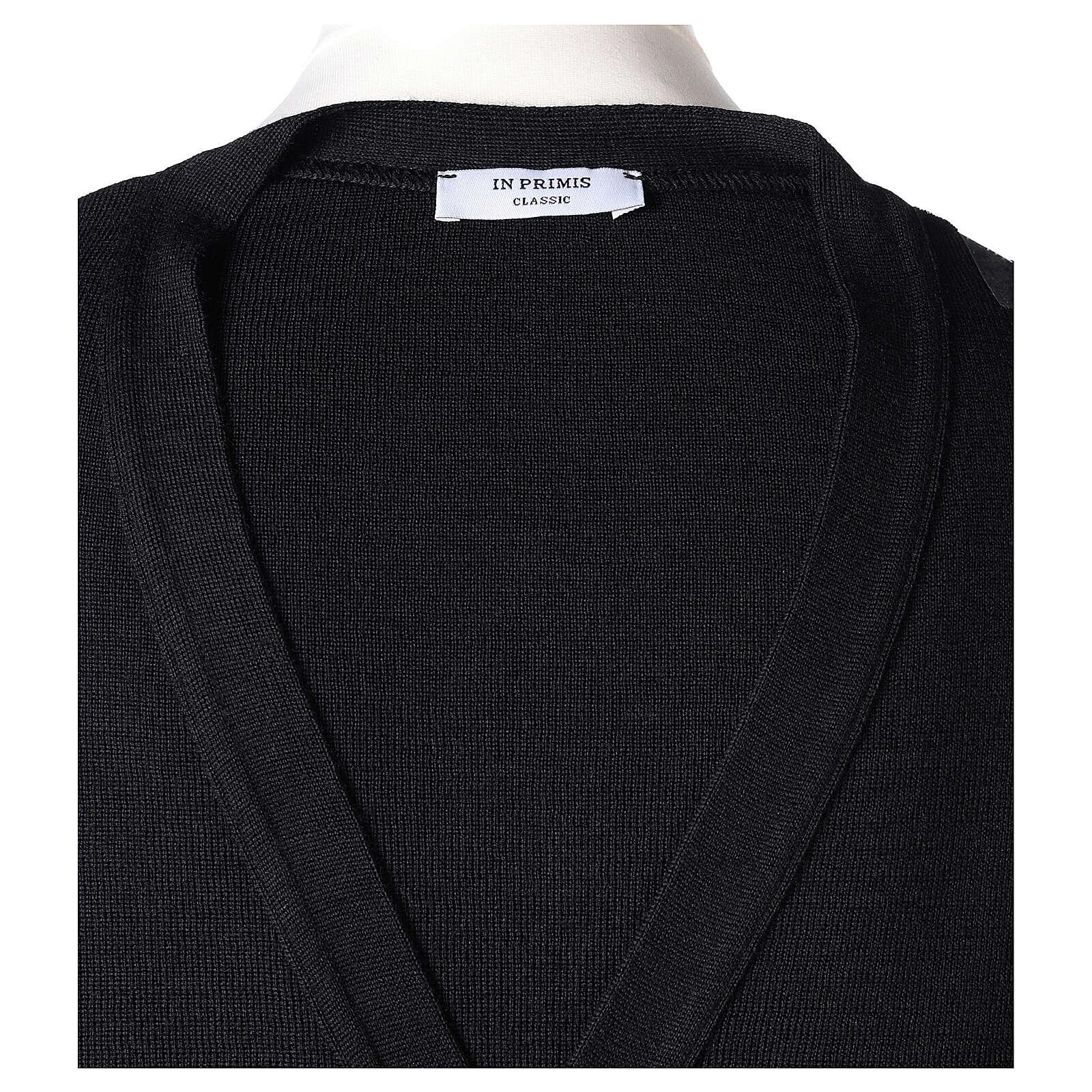 Chaqueta sacerdote negra bolsillos y botones 50% lana merina 50% acrílico In Primis 4