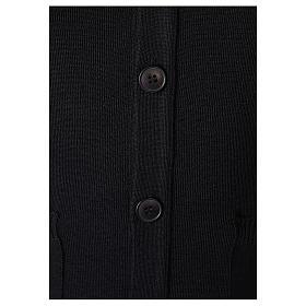 Gilet prêtre noir poches et boutons 50% acrylique 50% laine mérinos In Primis s3