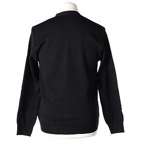 Gilet prêtre noir poches et boutons 50% acrylique 50% laine mérinos In Primis s6