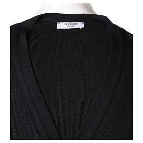 Gilet prêtre noir poches et boutons 50% acrylique 50% laine mérinos In Primis s7